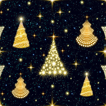 Golden Christmas Trees Seamless Pattern for fabric texture or wrapping paper.