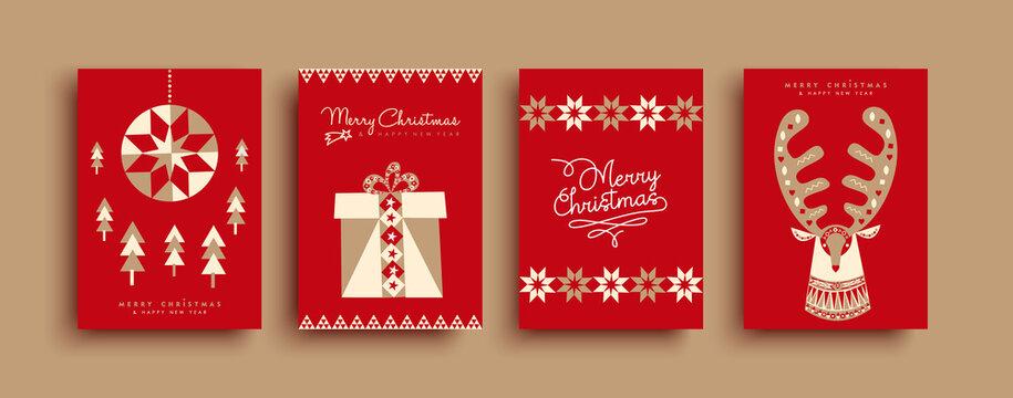 Christmas New Year geometric folk art deer set