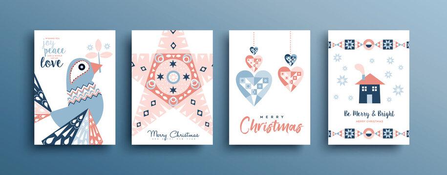 Christmas New Year retro folk art bird card set