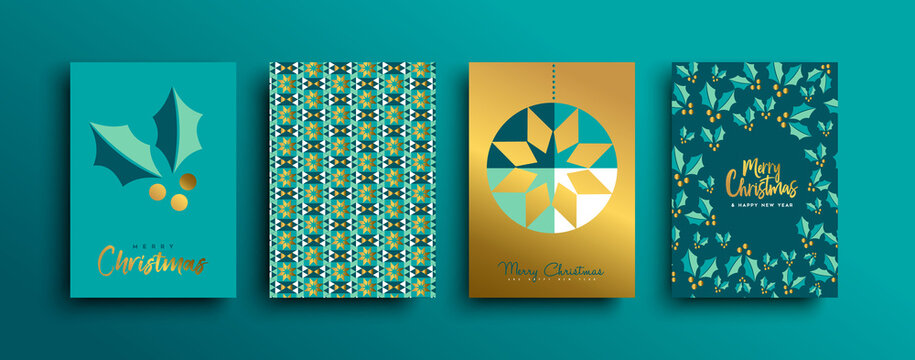Christmas New Year gold holly pattern card set