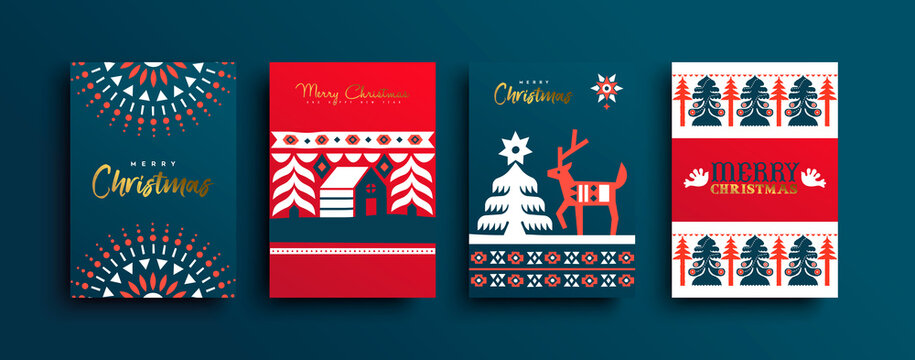 Christmas New Year folk deer geometric card set