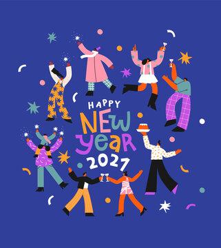 New Year 2021 fun people party cartoon card