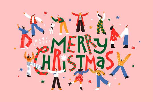 Merry Christmas fun people together cartoon card