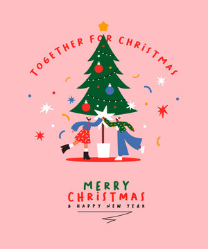 Christmas New Year cartoon friends high five card
