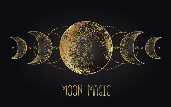 Moon magic. Triple moon pagan Wicca moon goddess symbol. Three-faced Goddess. Maiden, Mother, Crone vector illustration. Tattoo, astrology, alchemy, boho and magic symbol golden over black.