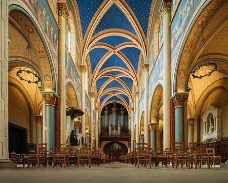 Interior of Benedictine Abbey of Saint-Germain-des-Pres, Paris, Ile-de-France, France