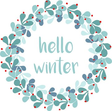 Hello winter watercolor wreath vector card isolated on white background
