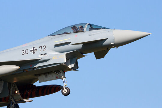 German Air Force EF2000 Eurofighter from JaboG 31 landing during the exercise Frisian Flag.
