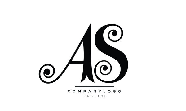 AS initials monogram letter text alphabet logo design