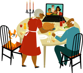 Elderly black couple having a holiday turkey dinner with their children and grandchildren joying them via video chat on a computer, EPS 8 vector illustration