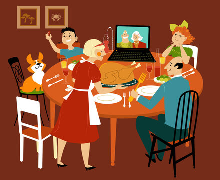 Family having a holiday turkey dinner with grandparents participating via video chat on the computer, EPS 8 vector illustration