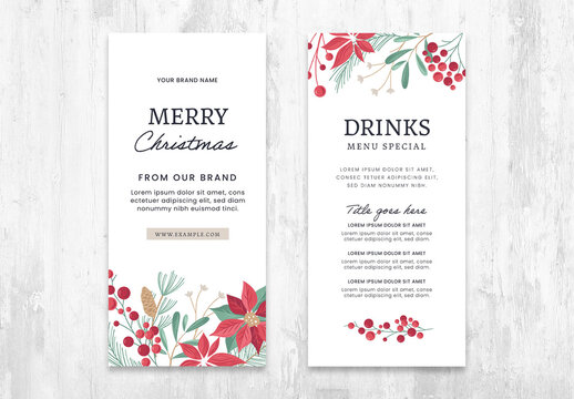 thin Christmas Menu Flyer Layout with Elegant Illustrations