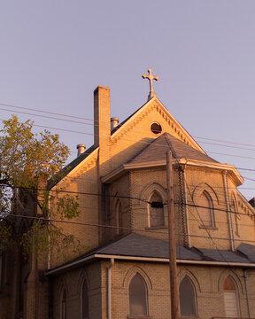 Church lit up at sunset