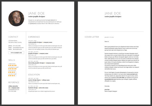 Cv Resume and Cover Letter Layout with Simple Minimal Contemporary Style