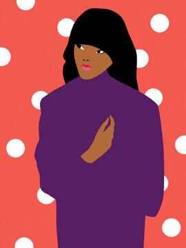 Dark skin woman on a polka dot background
