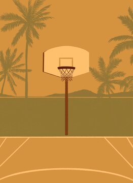 part of a basketball court and a basketball backboard with a ring/rim/basketball hoop.