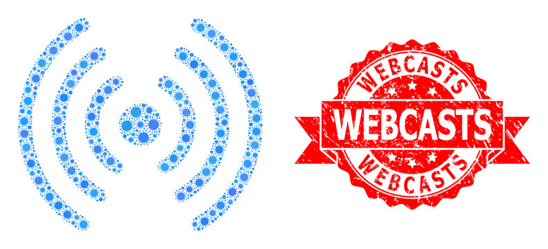 Distress Webcasts Stamp and Covid Virus Mosaic Wi-Fi Signal