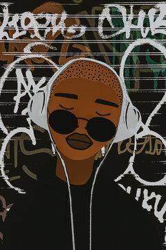 Urban Black Woman Listening to Music.
