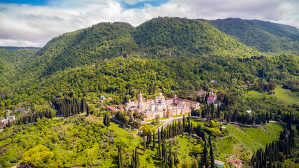 New Athos monastery at summer season aerial view.