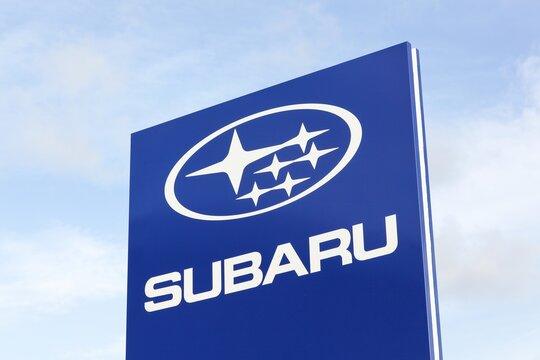 Tilst, Denmark - October 7, 2018: Subaru logo on a panel. Subaru is the automobile manufacturing division of Japanese transportation conglomerate Subaru Corporation