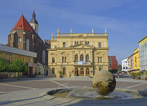 The main square and building Silesian Theatre of Opava. Opava is the historical capital of Czech Silesia, it is now in the Moravian-Silesian Region, Czech Republic