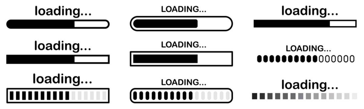 Set of vector loading icons. loading bar progress icon. Download progress. Collection Loading status. Vector illustration.