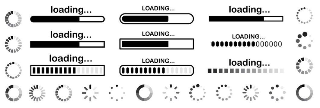 Set of vector loading icons. loading bar progress icon. Download progress. Collection Loading status. Vector illustration.