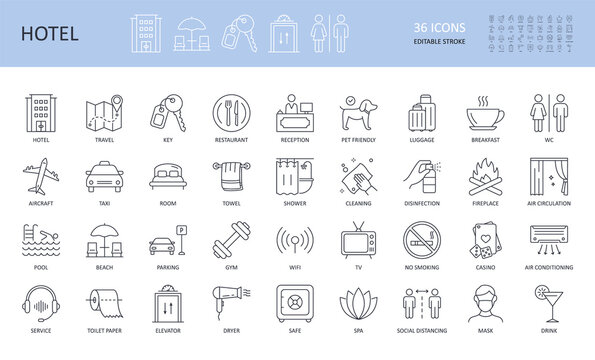 Vector hotel service icons. Editable stroke set. Travel key aircraft taxi room restaurant wc reception pet friendly. Casino luggage parking cleaning spa wifi elevator tv shower safe air conditioning