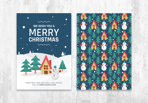Merry Christmas Card Layout with Snowy Winter Scene