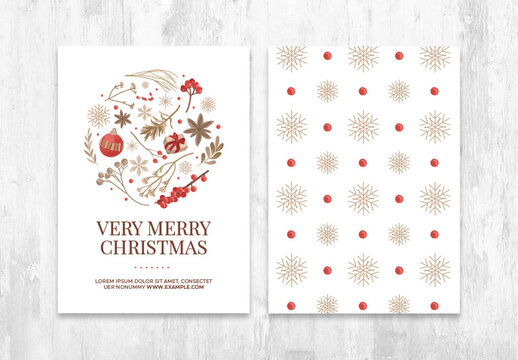 Minimal Christmas Flyer Invite with Rustic Illustrations