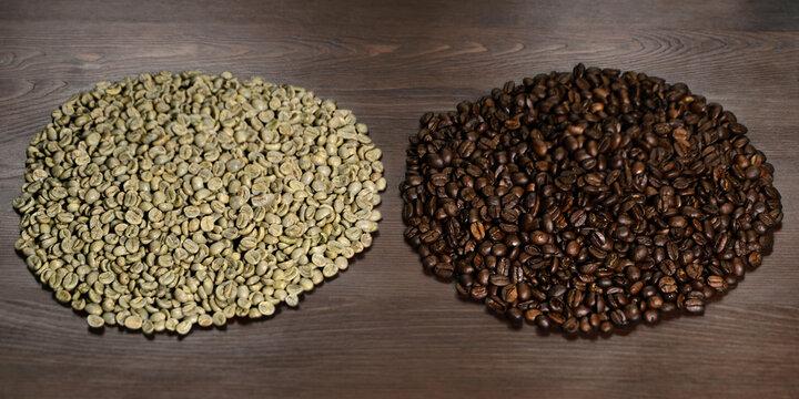 Kaffee roh Rohkaffee und Kaffeebohnen geröstet  Sorte Röstung Vergleich Kaffeebohne