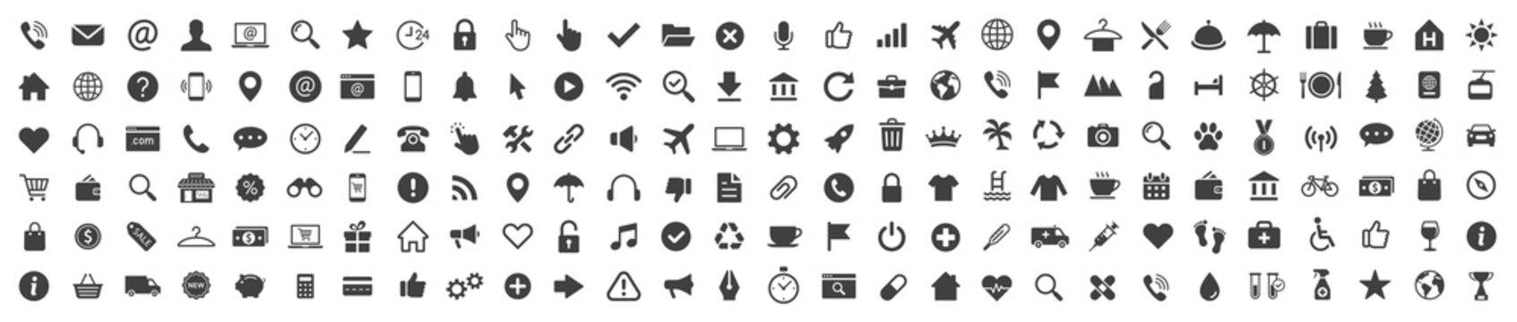 Icons set. Business Shopping Finance Tourism Web icon. Vector