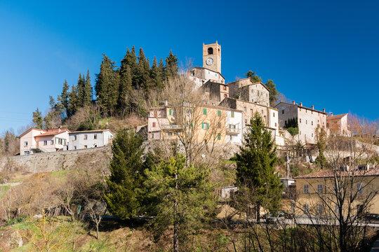 Panoramic view of Macerata Feltria, small town in the Pesaro-Urbino province (Marche, Italy)