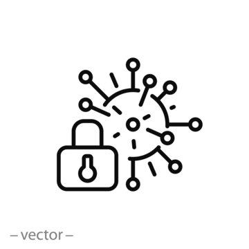lockdown coronavirus icon, pandemic covid-19, thin line symbol on white background - editable stroke vector illustration eps 10
