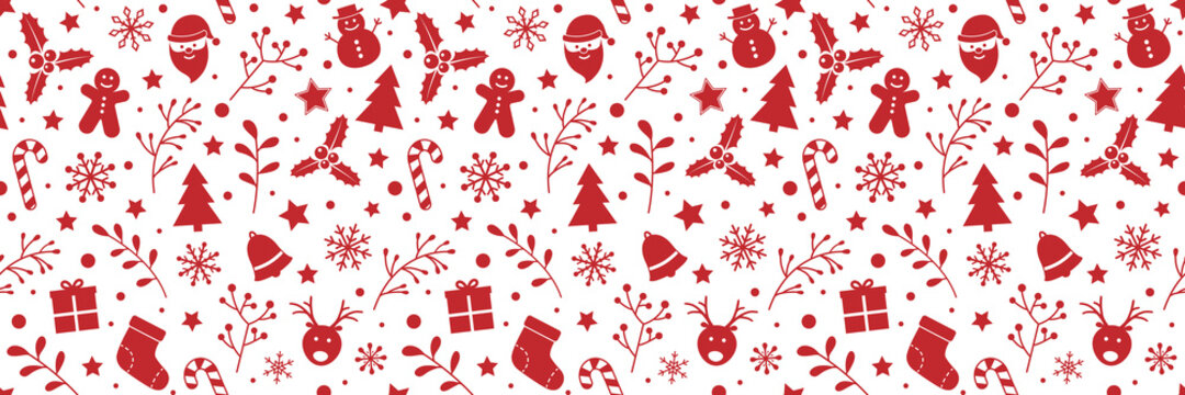 Christmas background with decoration. Xmas wrapping paper. Vector