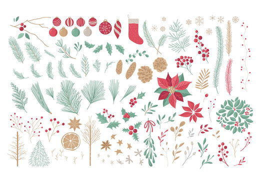Festive Christmas Illustrations and Decorative Elements