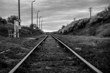 Tory peron bw czarno-biel natura trawa kolej