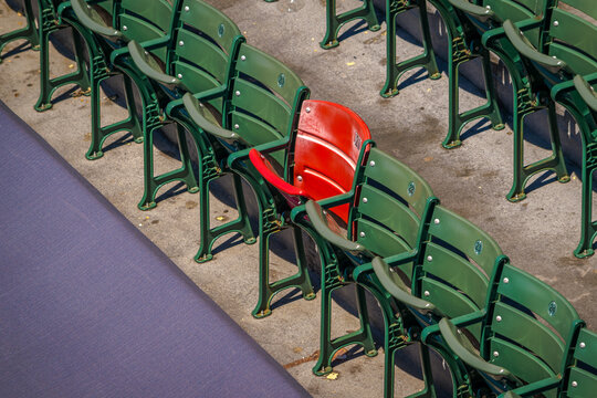 A single red seat in Fenway Park, marking the landing spot of Ted Williams' longest home run ball