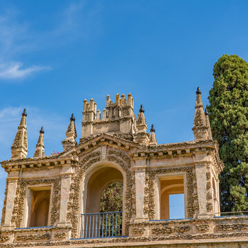 Historical building in the yard of the Real Alcazar Palaces in Seville