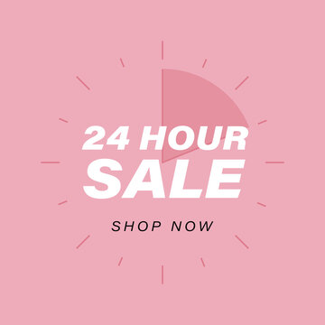 24 Hour Sale banner vector illustration