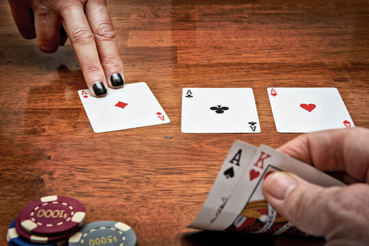 three aces on the flop in texas holdem, ace and king in hand