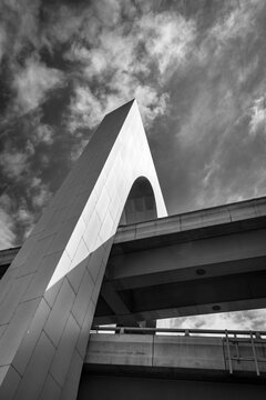 Melbourne, Victoria / Australia - 10 20 20 :Overpass architecture of the West Gate Freeway in B&W