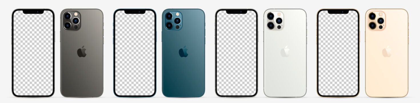 MOSCOW, RUSSIA - NOVEMBER 14, 2020: New iPhone 12 pro / pro max in three four colors (Graphite, Pacific Blue, Silver, Gold) by Apple Inc. Mock-up screen iphone and back side iphone. Vector illustratio