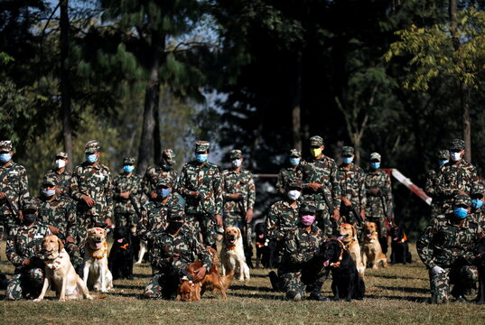 Members of Nepal Army wearing protective face masks pose for a photo along with their dogs during the dog festival as part of Tihar, celebrations also called Diwali, amidst the spread of the coronavirus disease (COVID-19), in Bhaktapur