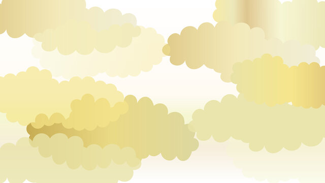 複数の雲と青海波の連続模様の背景イラスト 白バージョン