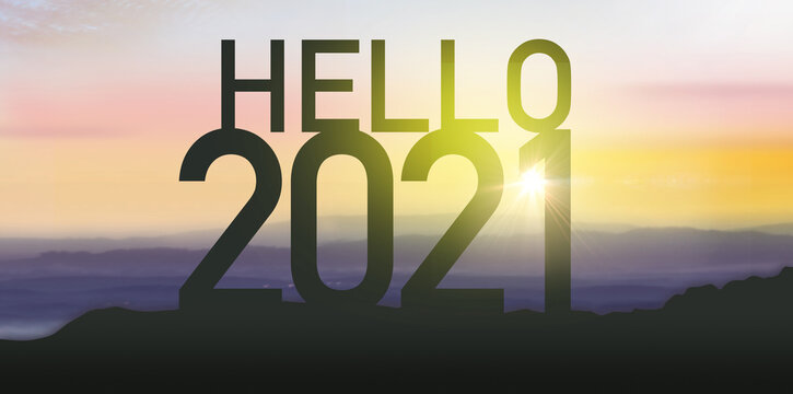 2021 new year concept. Silhouette number on the hill.