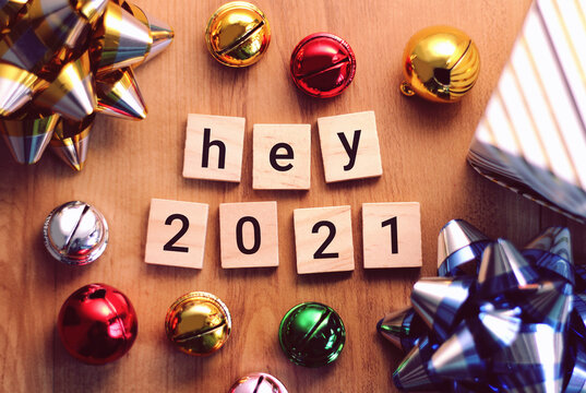 Happy new year 2021 with colorful decoration.