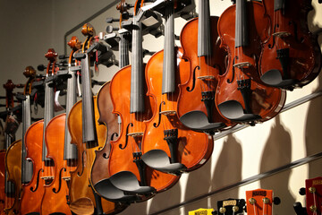 Violins for sale at a music store
