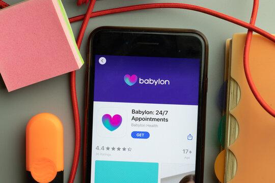 New York, United States - 7 November 2020: Babylon Appointments app store logo on phone screen, Illustrative Editorial