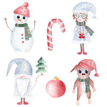 Watercolor Christmas clipart set. Hand painted snowman, gnome, xmas girl and dog. Printable winter holidays decoration.